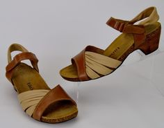 Taos Swing Women's Size 8 Tan Pleated Leather Sandals Heels #taos #AnkleStrap #Casual