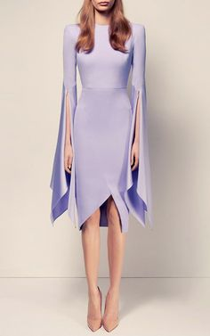 The Cara Satin Crepe Long Sleeve Split Lady Dress by ALEX PERRY for Preorder on…