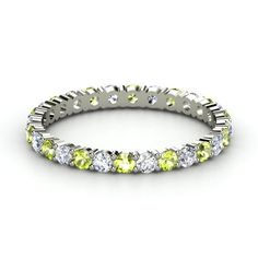 This would be the perfect wedding band if i marry someone with an august birthday ;)  ---- 14K White Gold Ring with Peridot & Diamond | Rich & Thin Eternity Band | Gemvara