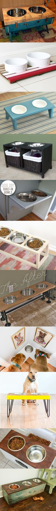 Build your own Dog food storage and feeding station (with instructions). This helped my clumsy dog from spilling his dish, and they look great in any home.