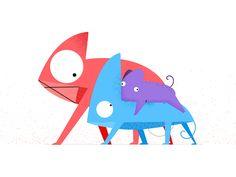 Chameleon Family by Romain Loubersanes #Design Popular #Dribbble #shots