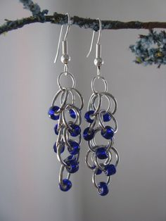 Royal Blue Chainmaille Earrings by SilverwearCreations on Etsy, $8.00