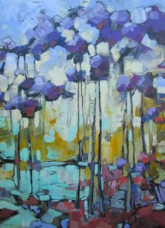 painting ideas forest and fox Abstract Landscape Painting, Abstract Oil, Landscape Paintings, Landscape Art, Art Thomas, Scenery Paintings, Abstract Flowers, Abstract Trees, Art Floral