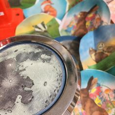 Pressing a fresh batch of #illustrated #fabric pocket #mirrors and #badges this morning - these little beauties make great #stockingstuffers and have been selling like hot cakes this year! Ceridwen Hazelchild Design
