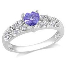 5.0mm Heart-Shaped Tanzanite and Diamond Accent Ring in Sterling Silver