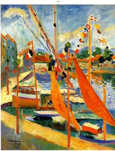 The 14th of July at St. Tropez (1905).  Henri Manguin (1874-1949) was a French painter, associated with Les Fauves. Manguin entered the École des Beaux-Arts to study under Gustave Moreau, as did Matisse and Charles Camoin with whom he became close friends.