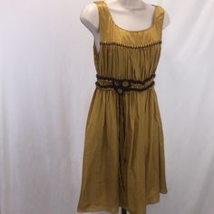 Max studio dress med Really cute max studio dress. Size medium. Hard to describe the color, but it's kind of like a dark gold with a hint of olive. Sweater like detail at the waist. New without tags. No visible imperfections. 60% rayon 40% silk.                    #713- Max Studio Dresses Midi