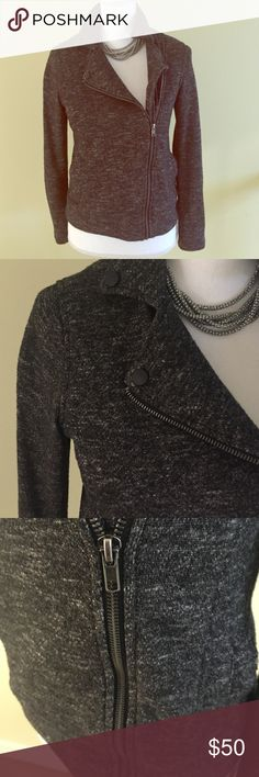Charcoal Moto jacket Thick cotton material. Super stylish and comfy on. Perfect condition Jackets & Coats