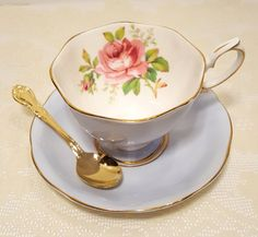 Royal Albert Blue Pink Rose Tea Cup & Saucer by catladycollectibles on Etsy