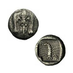 Karien Incert Mylasa Hemiobol 450-400 v.Chr. Skorpion Löwenskalp SNG Kayhan 936