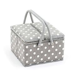 Hobby Gift 'Grey Polka Dot' Twin Lid Large Square Sewing Box 25 x 25 x 17cm (d/w/h)  Part of Hobby Gift's range of twin lid sewing boxes.  Twin lid allows you to open a specific side of the box.  Handy plastic inset tray for all of your smaller sewing items.  Pin cushion attached to the lid allowing for easy pin storage.  Dimensions: 25 x 25 x 17cm (d/w/h).