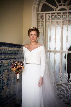 Long Sleeve Wedding, One Shoulder Wedding Dress, Cathedral Wedding Dress, Weeding Dress, Dress Vestidos, Dress Hairstyles, Wedding Dress Accessories, White Gowns, Headpiece Wedding