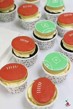 Australian Rules Football Theme Birthday Party Table With Cake, Mini Cupcakes & Cookie Pops
