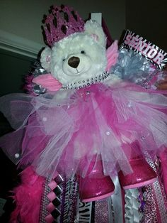 Megans senior mum from last year! That is a full size build a bear. #homecoming mum