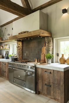 Dream kitchen 😍 Furniture handle PMAF and Pure Tiles in Raw Metal (Pure Collection) Realisation by Restyle XL ⚒️ Cabin Kitchens, Modern Farmhouse Kitchens, Farmhouse Kitchen Decor, Home Decor Kitchen, Interior Design Kitchen, Country Kitchen, Kitchen Furniture, Wood Furniture, Farmhouse Style