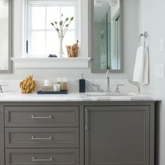 Window with deep casement with double sink vanity - grey bathroom vanity Grey Bathroom Cabinets, Grey Bathroom Vanity, Gray Vanity, Grey Bathrooms, Beautiful Bathrooms, Small Bathroom, Gray Cabinets, Master Bathroom, White Bathroom
