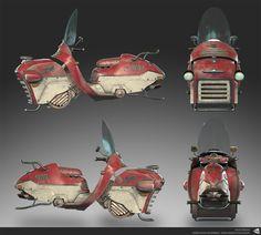 ArtStation - Dieselpunk Hoverbike, Dave Parker - Game res - 30k tris. Maya, Substance Painter
