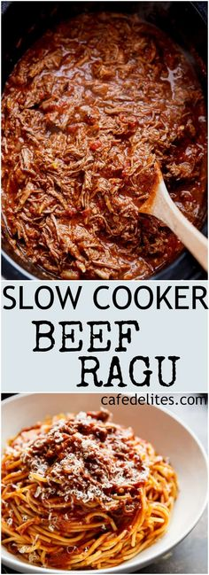 Slow Cooker Beef Ragu Is A Rich And Tender, Fall-Apart Tomato Beef Sauce. With All The Magic Happening In Your Slow Cooker, Come Home To A Satisfying, Ready-Made Home Cooked Dinner Slow Cooker Pasta, Beef Pasta, Crock Pot Slow Cooker, Beef Ragu Slow Cooker, Slow Cooker Meals Healthy, Slow Cooker Recipes Cheap, Pressure Cooker Recipes Beef, Ragu Pasta Sauce, Slow Cooker Bolognese Sauce