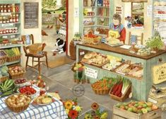 Farm Shop HOP Jigsaw Puzzle 1000 Piece by Tracy Hall purchase from online Australian puzzle store based in NSW we ship world wide Tracy Hall, Puzzle Store, Puzzle Maker, Nostalgic Art, Hidden Pictures, Cottage Art, Farm Shop, 5d Diamond Painting, Country Art