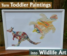 Turn Toddler paintings into Wildlife Art. A great way to explore Eric Carle