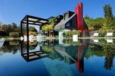 beautiful modern house at water