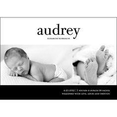 Girl Photo Birth Announcement -- Bold Baby   Pear Tree Greetings