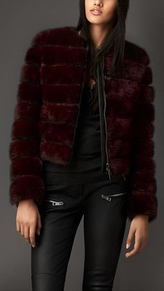 This is TDF. If only... Leather Detail Mink Jacket | Burberry