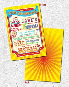 Circus Carnival Theme Party Invitations 25qty by MetroEvents