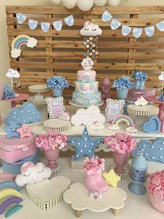 25 ideas of faça você mesmo - Birthday FM : Home of Birtday Inspirations, Wishes, DIY, Music & Ideas Rainbow Birthday, Rainbow Baby, Baby Birthday, Birthday Parties, Party Decoration, Birthday Decorations, Baby Shower Decorations, Rain Baby Showers, Cloud Party