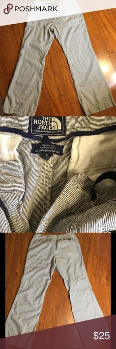 NORTH FACE 10. WANDER FREE LINEN PANTS Beautiful NORTH FACE WANDER FREE LINEN PANTS IN A WOMANS SIZE 10. BLUE PIN STRIPE GREAT SHAPE. INSEAM 31. Lying flat waist 16.5 and rise is 8.5 The North Face Pants Straight Leg