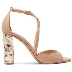 Burberry London London metallic-trimmed leather sandals (£610) ❤ liked on Polyvore featuring shoes, sandals, heels, neutral, high heel sandals, strap sandals, ankle strap sandals, strappy leather sandals and strappy heeled sandals