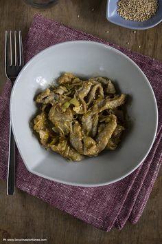 straccetti di manzo con porri e salsa di soia