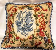 Country French Cottage Rooster Pillow by TsEclecticTreasures,
