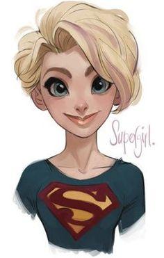 Supergirl, I am loving the hair! Supergirl Dc, Batgirl, Supergirl Drawing, Character Concept, Character Design, 2d Character, Thor Girl, Dc Comics, Disney Rapunzel
