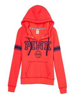 Victoria's Secret PINK Half Zip Boyfriend Pink Pullover Sweatshirt ...