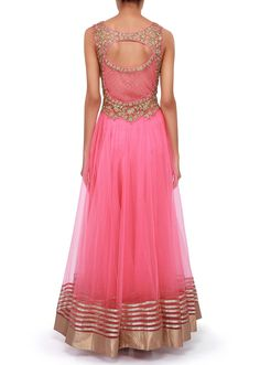 Pink anarkali suit adorn in zari and kundan embroidery only on Kalki