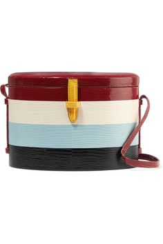 EXCLUSIVE AT NET-A-PORTER.COM. Hunting Season's signature 'Trunk' bags are inspired by Danielle Corona's personal collection of wicker styles. This striped version has been designed in collaboration with Carolina Herrera and was seen at the designer's Spring '18 show in New York. It's made from lizard and lined in plush red suede. Why not try matching your nail polish to the pale-blue band?