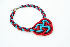 OOAK Geisha double coin knot bib necklace in red turquoise and burgundy, rope jewelry, nautical, summer, braided, knotted, chunky, statement...