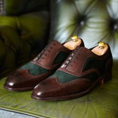 Emerald suede & calf correspondent shoes | Men's business shoes from Charles Tyrwhitt, Jermyn Street, London