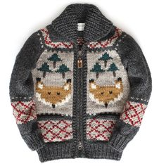 It's officially sweater weather! The Foxy Forest sweater by Granted Clothing is perfect for fall adventures. Knitting For Kids, Baby Knitting, Crochet Baby, Knit Crochet, Anchor Sweater, Cowichan Sweater, Knit Vest, Outerwear Jackets, Couture