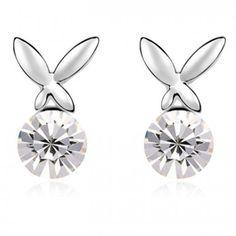 Boucles d'oreilles à strass - Puces d'oreilles papillon #bijoux #tendance #look #mode #earring #jewelry #femme #fashion #shopping www.milena-moda.com