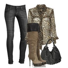 """Skinny Jeans + Printed Blouse + Knee-high Boots + Studded Bag ---> Like the outfit idea but being 4' 10"""" I would have to tone this down ALOT !"""