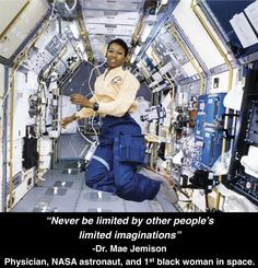 First African-American woman in space.Mae Jemison, NASA Astronaut.