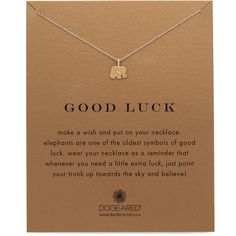 Dogeared Good Luck Charm Necklace (€54) ❤ liked on Polyvore featuring jewelry, necklaces, gold, elephant jewellery, 14 karat gold necklace, 14 karat gold jewelry, 14k charm and charm jewelry