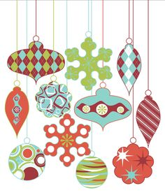 Christmas Ornaments Clip Art Clipart Retro