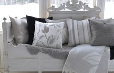 The Little Corner Swedish Decor, Swedish Style, Decor Interior Design, Interior Decorating, Little Corner, Grey Cushions, Cushion Covers, Cottage Style, My Dream Home