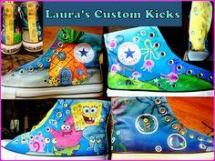 Custom hand painted Spongebob Squarepants shoes on High top Converse.