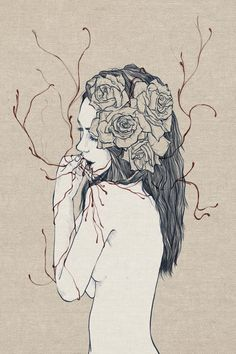 illustration. girl. flower. blood. @idrinkbunny www.idrinkbunny.com