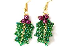 Holly Earrings in Green, Fuchsia and Gold Handmade Earrings #201    These beautiful handmade earrings, named Holly Earrings, feature bright emerald
