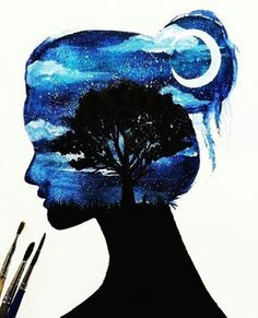 Image about girl in art/ Drawings by Poonam Dhillon Galaxy Painting, Galaxy Art, Beautiful Drawings, Cute Drawings, Silhouette Painting, Silhouette Drawings, Love Art, Art Inspo, Painting & Drawing